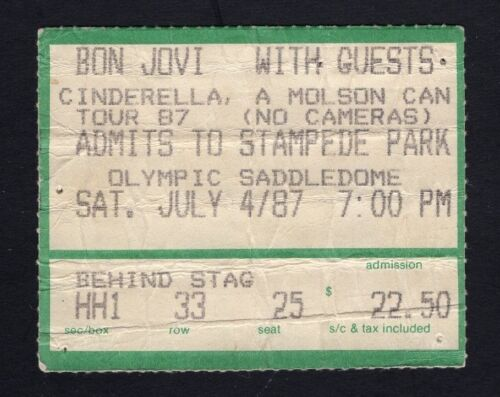 Original 1987 Bon Jovi Cinderella concert ticket stub Calgary Slippery When Wet