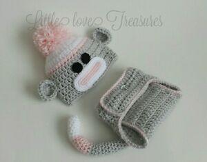 NEW Newborn Baby Girl Sock Monkey Hat and Diaper Cover Crochet Photo Prop Gift
