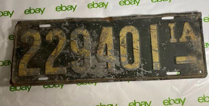 Vintage Iowa License Plate 229401 ODD SIZE