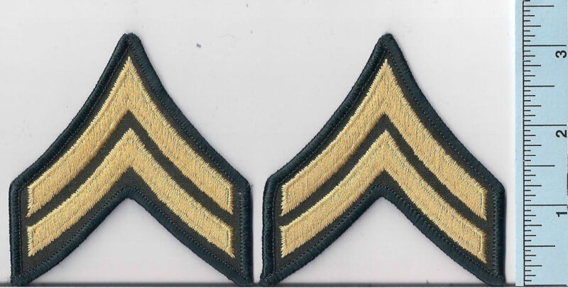 Two NEW Gold/OD Green Police Sheriff Cpl BonusRank Patches 2-Stripe ChevronsLASD