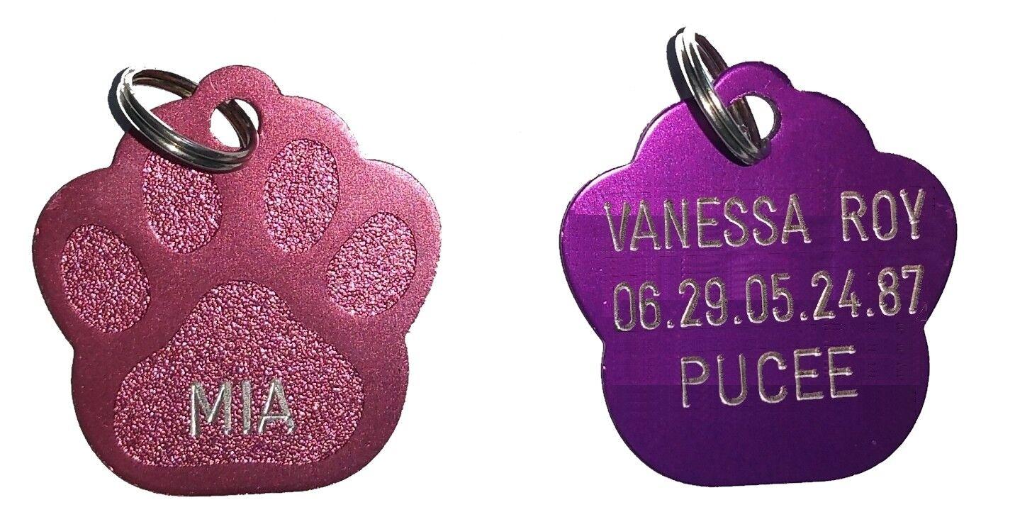 médaille patte gravée pour chien ou chat 10 couleurs 2 tailles 2 faces possibles