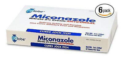 6 Tubes Of Miconazole Nitrate 2   Antifungal Cream        Total 6 Ozs