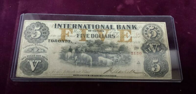 RARE 1858 International Bank of Canada $5 Note from Toronto