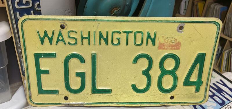 1968-1982 Washington State Passenger Vehicle License Plate Single, Natural 1973