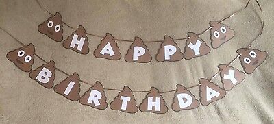 Happy Birthday Banners Personalized (Poop Emoji Happy Birthday banner. Can be personalized with Name and)