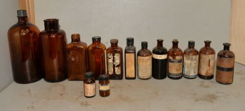 Amber glass apothecary jar & medicine & poison empty bottle collection display