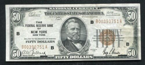 FR. 1880-B 1929 $50 FIFTY DOLLARS FRBN FEDERAL RESERVE BANK NOTE NEW YORK, NY XF