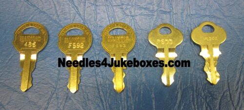 1 Rockola Jukebox Cabinet Key, Your Choice of One: #F486 F592 F593 P600 or P1200