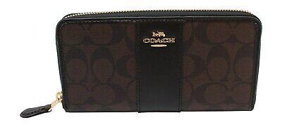 Coach F54630 Signature PVC Leather Accordion Zip Wallet Brown Black