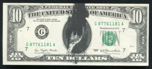 """1977 $10 FRN FEDERAL RESERVE NOTE """"INK SMEAR ERROR ON FRONT"""" ABOUT UNC"""