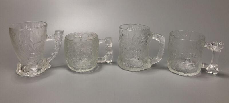 SET OF 4 MCDONALDS FLINTSTONES GLASSES GLASS COFFEE MUGS 1993 #1