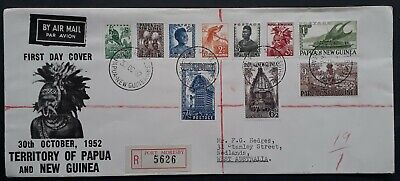 1952 Papua New Guinea Registered Pictorials FDC  ties 10 stamps Port Moresby