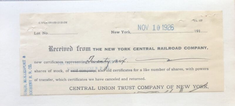 New York Central Railroad Co. Certificate Shares Stock - Antique - 1926 Railway