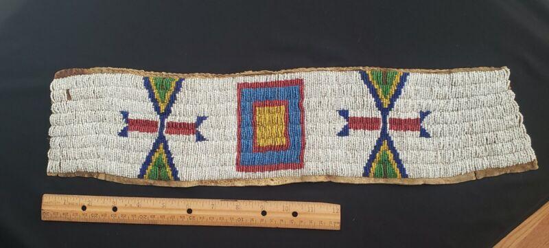 "Native American Heritage, 19th Century Beaded Strip , Blanket Strip , 20"" Long,"