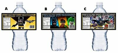 20 LEGO BATMAN MOVIE CUSTOM BIRTHDAY PARTY FAVORS WATER BOTTLE LABELS WRAPPERS