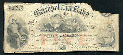 1854  5 Metropolitan Bank Washington  D C  Obsolete Banknote