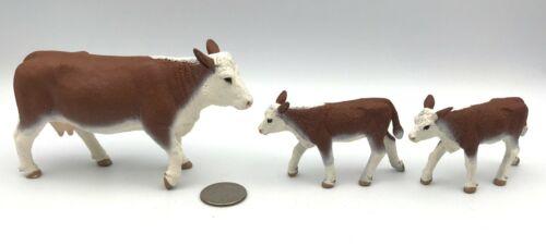 Safari Ltd HEREFORD w/2 CALVES Calf Baby Cow 2008 Farm Figures Brown & White