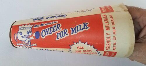 Vintage Paper Cone Megaphone Miss Milkmaid - CHEER FOR MILK Milk Adv 1950s Pa.
