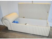 Storage chest chaise longue settee in cream stripe damask