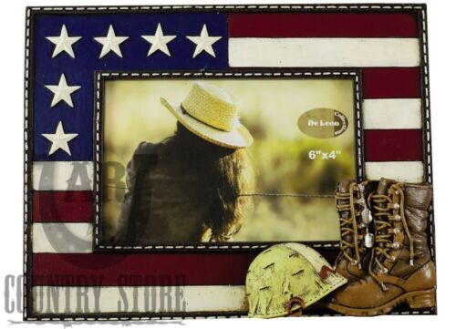 USA Flag and Military Photo Picture Frame with Boots & Helme
