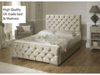 Gold /cream crushed velvet bed