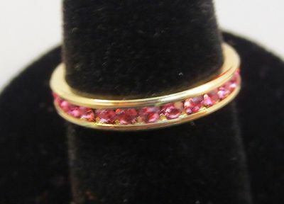 3MM 14KT GOLD EP STACKABLE OCTOBER ROSE WEDDING ETERNITY RING SIZE 9