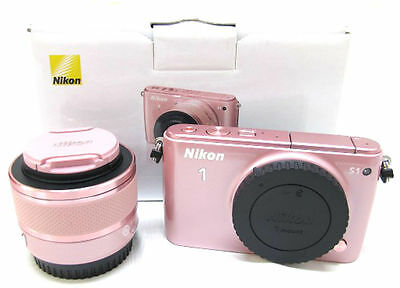 Nikon 1 S1 mirrorless digital camera body w. 10-30mm lens kit *pink *pristine