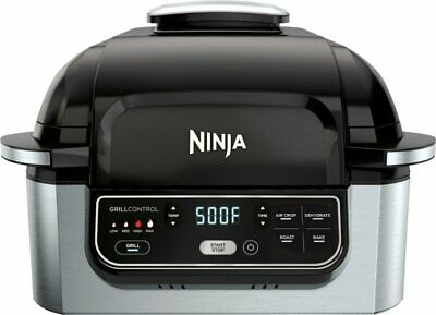 Ninja - Foodi 5-in-1 Indoor Smokeless Air Fry Electric Grill - Stainless Steel/B