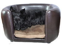 Small Faux Leather Luxury Dog Bed Pet Sofa with Thick Mattress | End of Line Bargain Last One