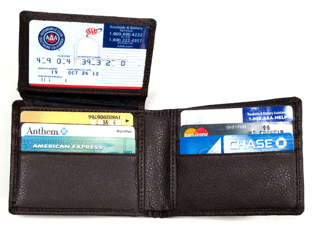 RFID Blocking Men's Leather Wallet Protect Credit Card Stop