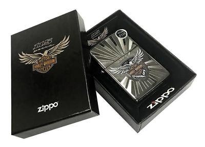 Zippo Lighter Harley-Davidson 115th Anniversary Black Ice Engraved 29556