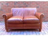Laura Ashley Distressed Tan Brown Leather Burlington Sofa RRP £2000