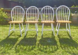 Dining Chairs x 4 Windsor Cottage Style White Beech