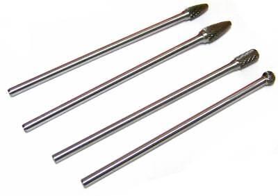 4 Pc 6 Long Reach Double Cut Tungsten Carbide Rotary Burr Set Bit 14 Shank