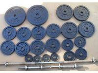 Set Golds Gym Cast Iron Weights 67kg + bars crossfit bodybuilding