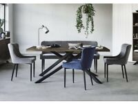 Furniture Village Sapporo Dining Table with 4 velvet chairs and bench