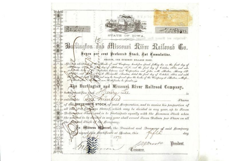 1870 Burlington & Missouri  RR Stock Certificate