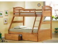 Oak Triple Bunk Bed Underbed Drawers