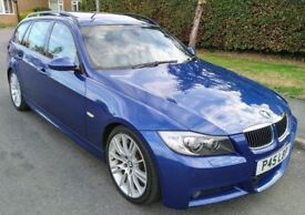 STUNNING 2007 LE MANS BLUE BMW 335D M SPORT TOURING AUTO DIESEL FULLY LOADED FSH PAN ROOF