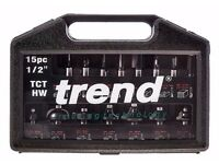 Trend Router cutters Tungsten Carbide tips / SETSS9TC 1/2 TC / 15 piece set