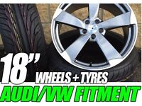"""4NEW 18"""" ROTOR TT RS STYLE ALLOYS WHEELS + 4 NEW TYRES WILL FIT AUDI A3 A4 A5 S LINE S3 S4 S5 S6"""