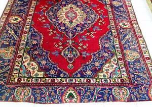 Persian Handmade Rug, Red, Blue Rug, Wool (Free Shipping)