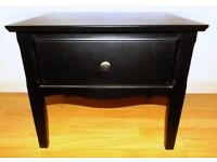 Black Laquered Wooden Bedside Table