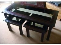 Set of 3 Nesting Coffee Tables - Wood with Glass Top