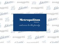 Open day for WAITING STAFF wanted for Metropolitan Restaurant Group