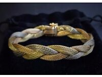 STUNNING VINTAGE 18ct 3 COLOUR GOLD, YELLOW, ROSE & WHITE BRAIDED BRACELET
