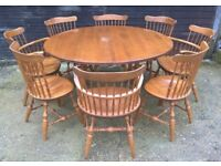 Vintage Farmhouse Drop Leaf Round Dining Table *DELIVERY INCLUDED*Eight Chairs Maple(oak beech pine)
