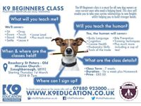 K9 Beginners Class - Starting Thursday, 1st March 18 @ 7pm - Book Your Place Now!!!