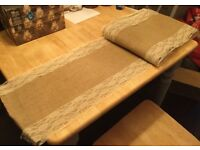 Hessian and Vintage Lace Table Runner