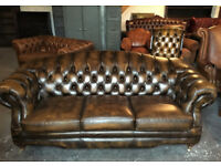 Thomas Lloyd antique gold 3 seater Chesterfield sofa